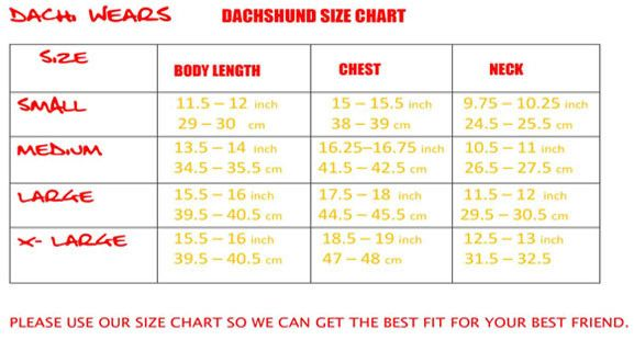 Size Chart On How To Measure Your Dachshund Dachshund Clothes