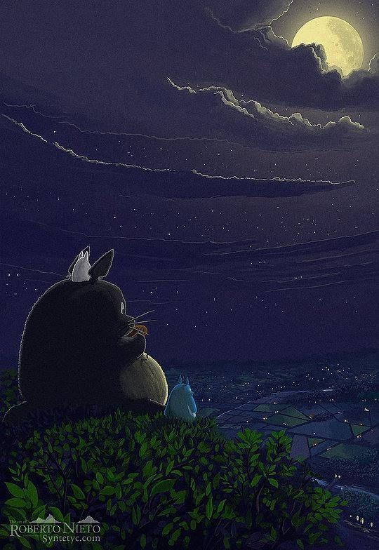 + Ilustração :   Totoro e as belas paisagens de Roberto Nieto.