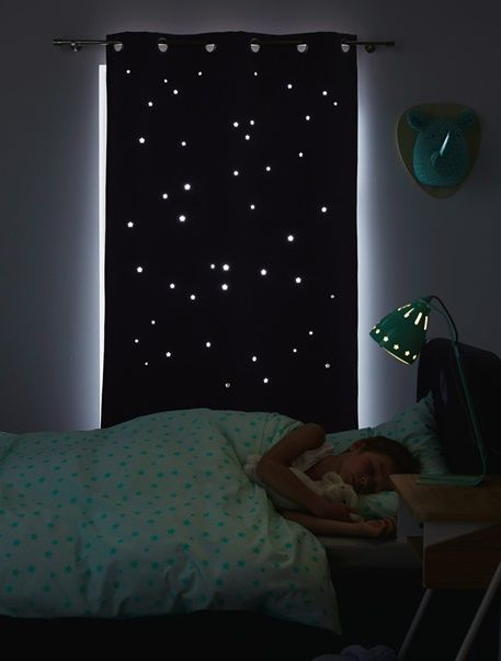 verdunkelungsvorhang mit ausgestanzten sternen blau grau. Black Bedroom Furniture Sets. Home Design Ideas