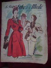 LE PETIT ECHO DE LA MODE 1947 n° 39, mini patron, chapeaux, broderie, tricot