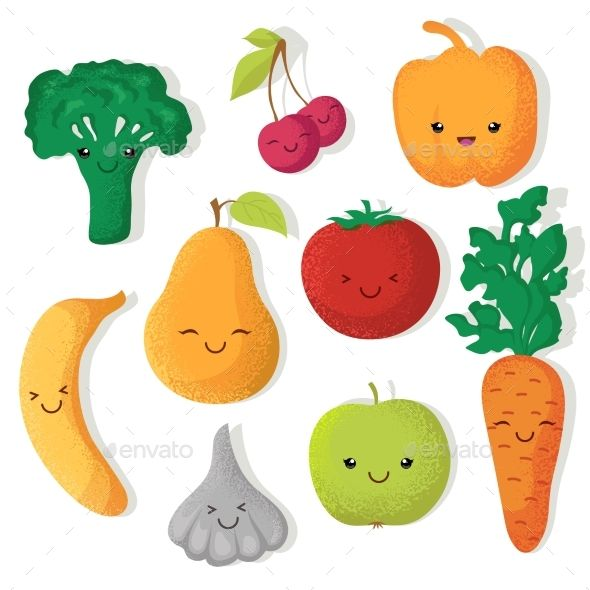 Cartoon Fruits And Vegetables Vector Fruit Illustration Funny Fruit Cute Fruit