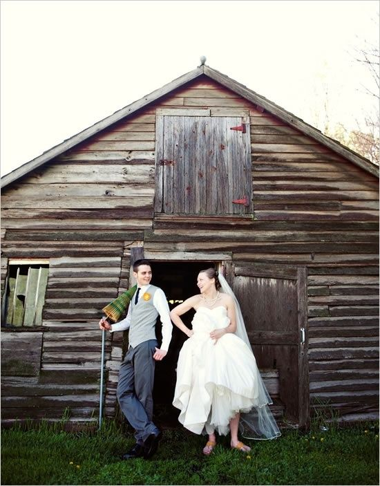 Cute idea for a weeding invitation. Picture in front of the wood barn where the wedding will take place