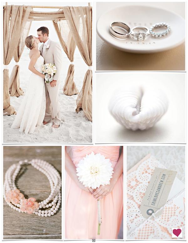 White Sand Beach, Peach & Burlap Wedding Inspiration Board #wedding #weddinginspiration #beach #peach #burlap #blue #dahlia #seashells #lace #pearls #romantic #blissful #heartloveweddings