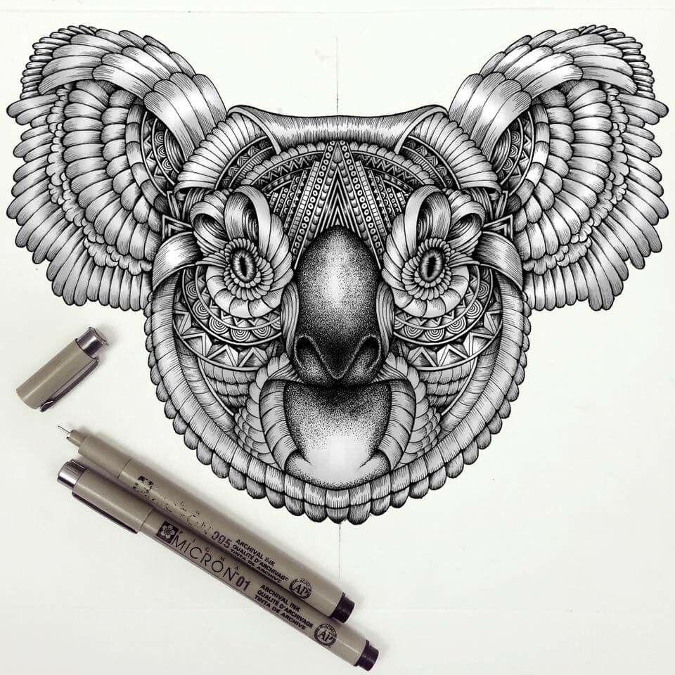 Inked Drawing Koala Blackandwhite Tattoo Tatuagem