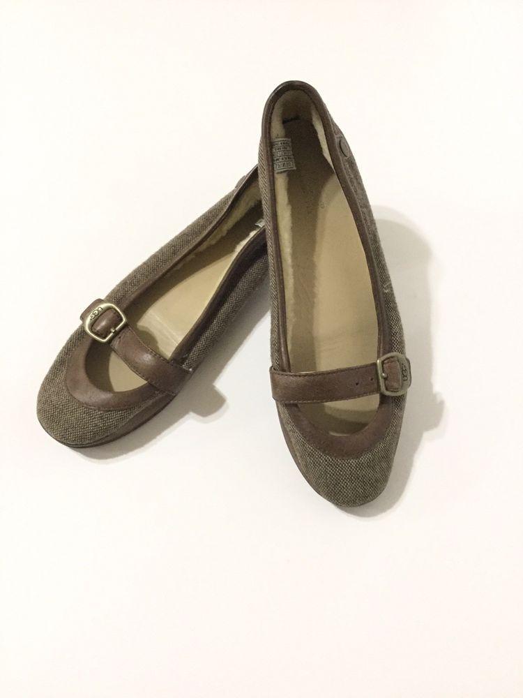 41551533ecf4 UGG Wool-lined Flat Ballet Brown Shoes Size 6 Women