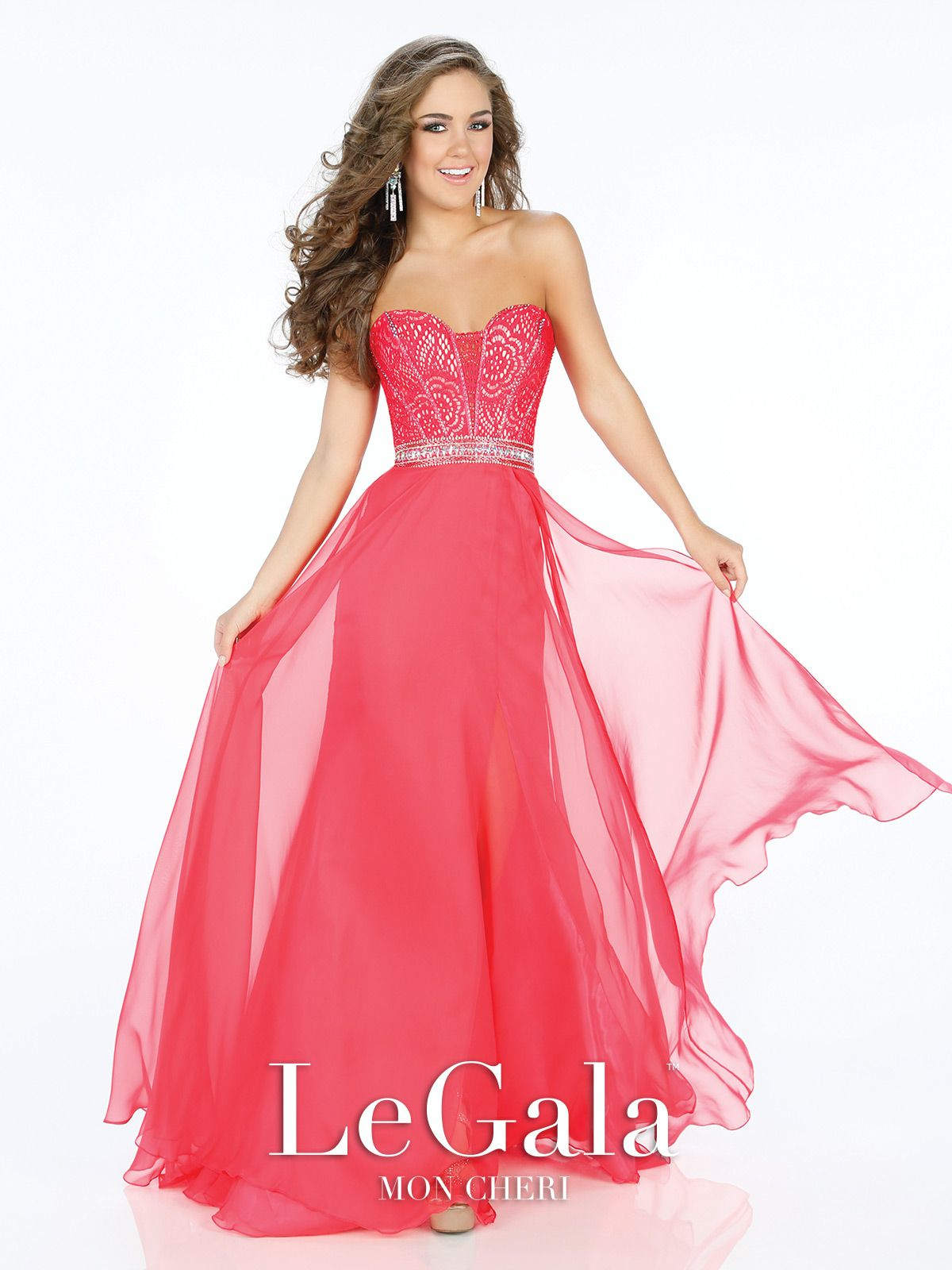 Le Gala by Mon Cheri Prom 2016. Strapless chiffon A-line gown ...
