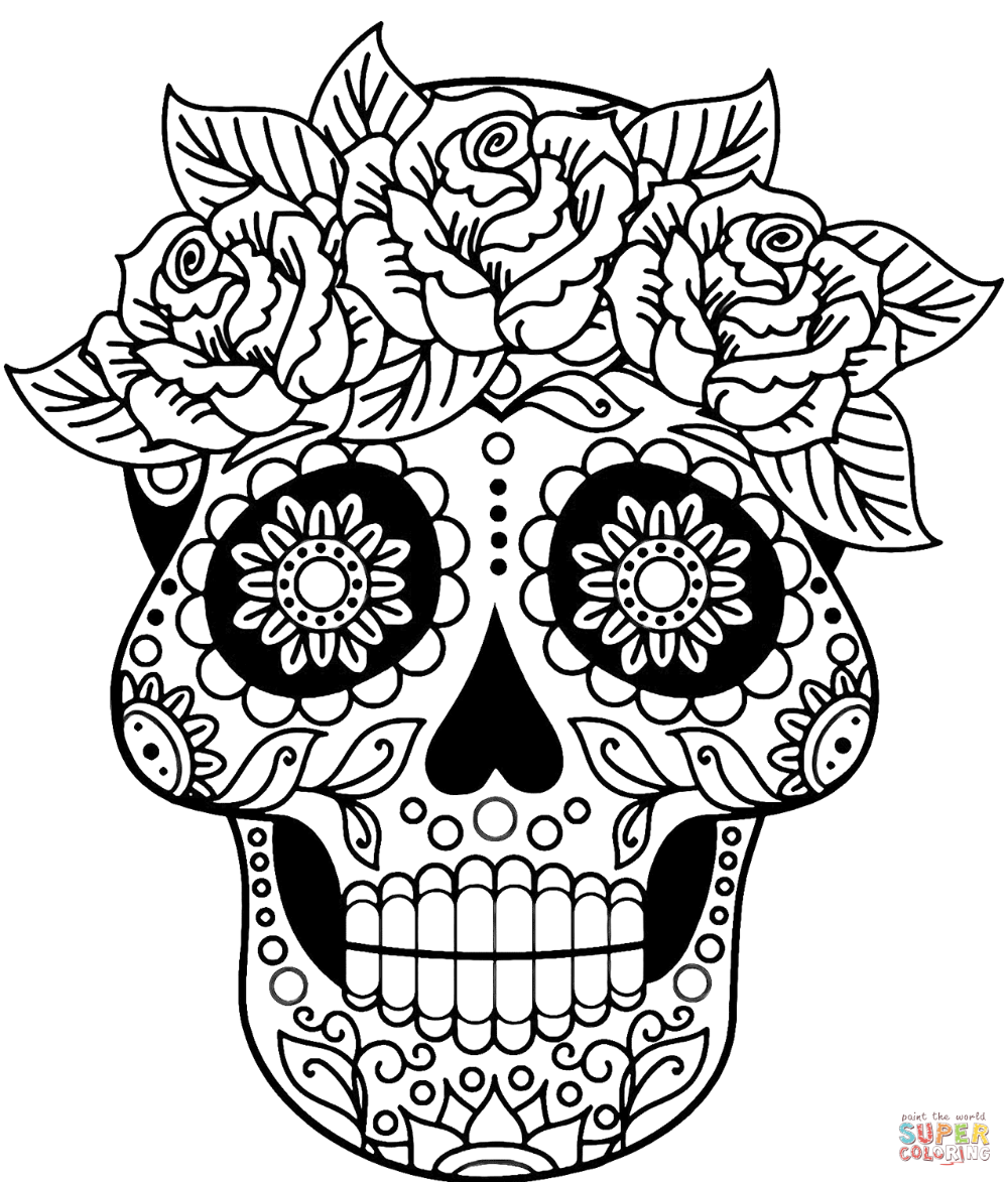 Sugar Skull Coloring Page Free Printable Coloring Pages Skull Coloring Pages Candy Coloring Pages Sugar Skull Artwork