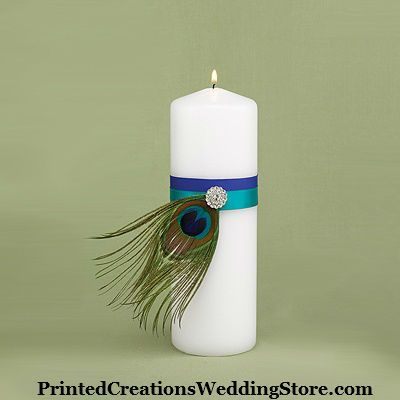 Peacock Plume Unity Candle for a peacock wedding theme. See more wedding accessories  invitations at https://www.PrintedCreations.carlsoncraft.com. Wedding inspiration and ideas here: www.weddingideastips.com