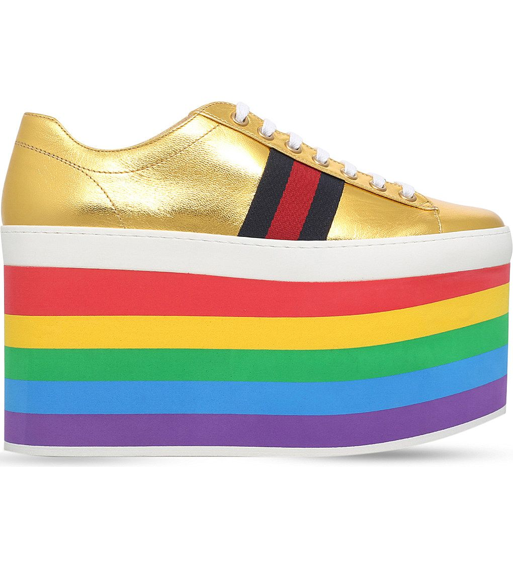 17be5bd7ffc0 GUCCI Peggy rainbow leather platform trainers