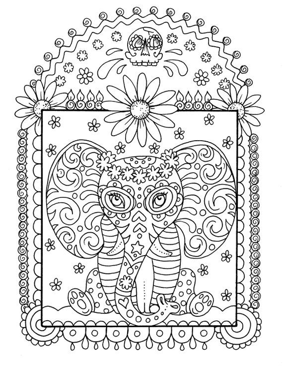 Instant Download Elephant Coloring Pages Digi Stamp Crafting Etsy Love Coloring Pages Animal Coloring Pages Elephant Coloring Page