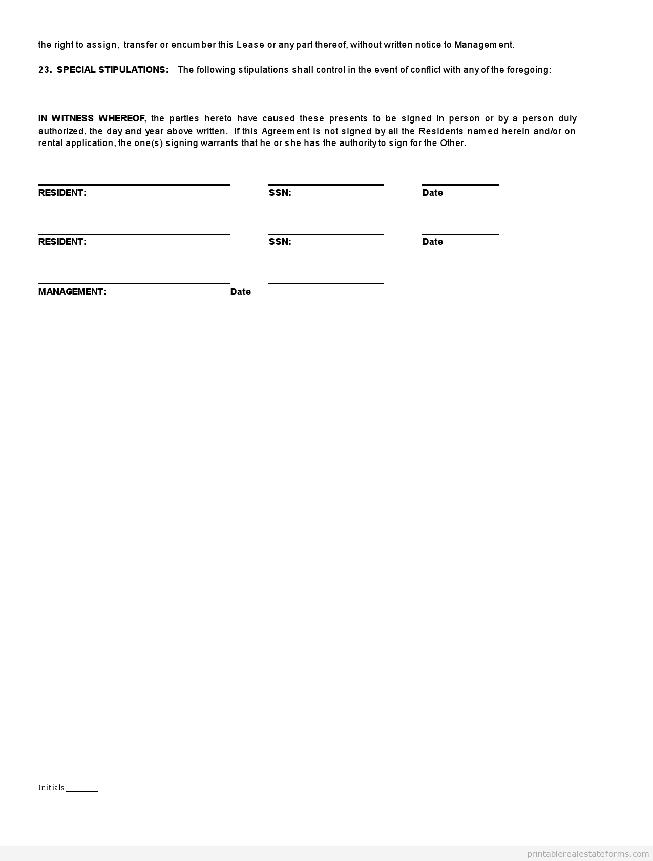 Sample Printable standard real estate lease agreement buying Form ...