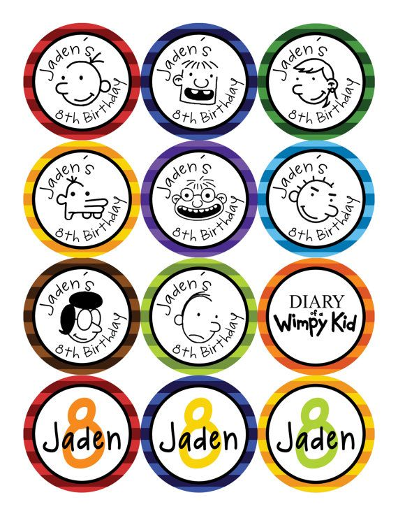 graphic regarding Diary of a Wimpy Kid Printable called Diary of a Wimpy Youngster Cupcake Toppers Bash Designs Child