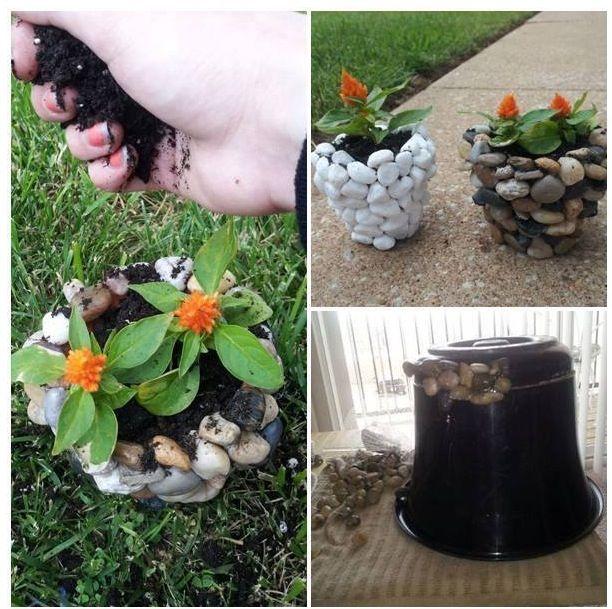 Maceta con piedras de rio jardin pinterest de rio for Piedras de rio para jardin