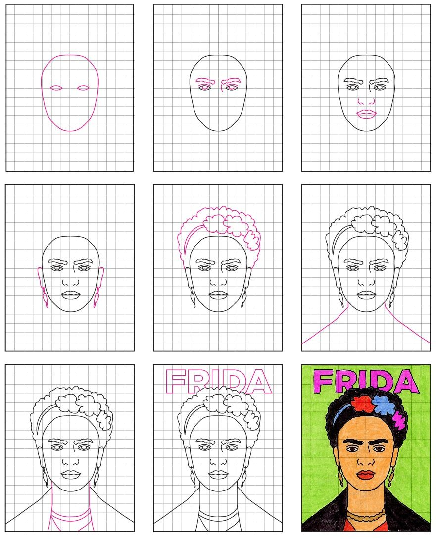 How To Draw Frida Kahlo Art Projects For Kids Frida Kahlo Art Kids Art Projects Frida Kahlo Drawing