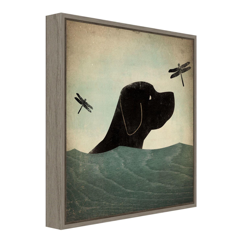 Amanti Art Black Dog Swim Framed Canvas Print Affiliate Black Dog Amanti Art In 2020 Framed Canvas Prints Amanti Art Black Dog
