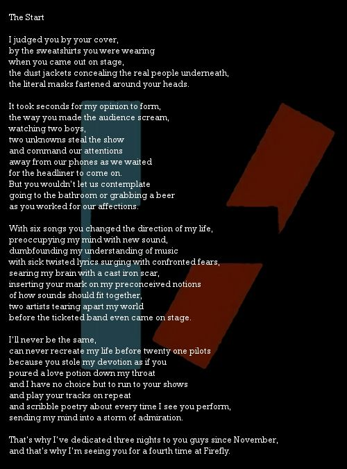 The Start She S In Prison Twenty One Pilots Poem About Myself The Twenties