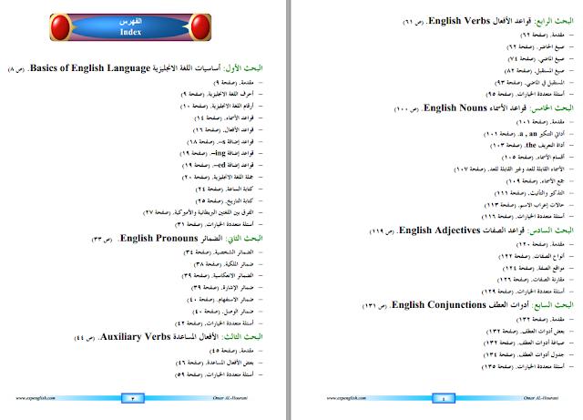 كتاب قواعد اللغة الانجليزية من A To Z بملف واحد Pdf مميز ومنسق English Adjectives English Verbs English Pronouns
