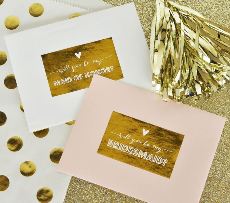 Bridesmaid & Maid of Honor Gold Foil Labels (set of 9)
