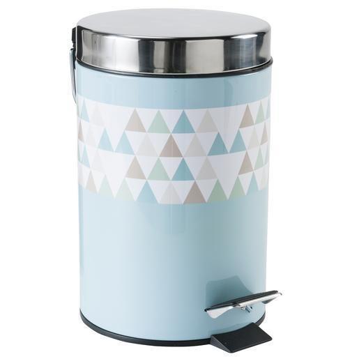 Poubelle de salle de bain Triangles Scandinave - Métal - Ø 16 x H 26 - salle de bain bleu gris