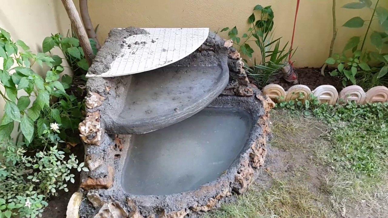 Homemade Simple ConcreteStone Small Fountain! Diy