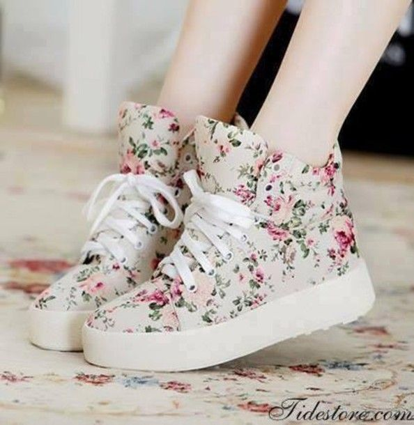 shoes sneakers high tops floral flowers vintage retro cute girly girl  teenagers high top sneakers plateau floral shoes sweet sweet shoes cute  shoes dress ...