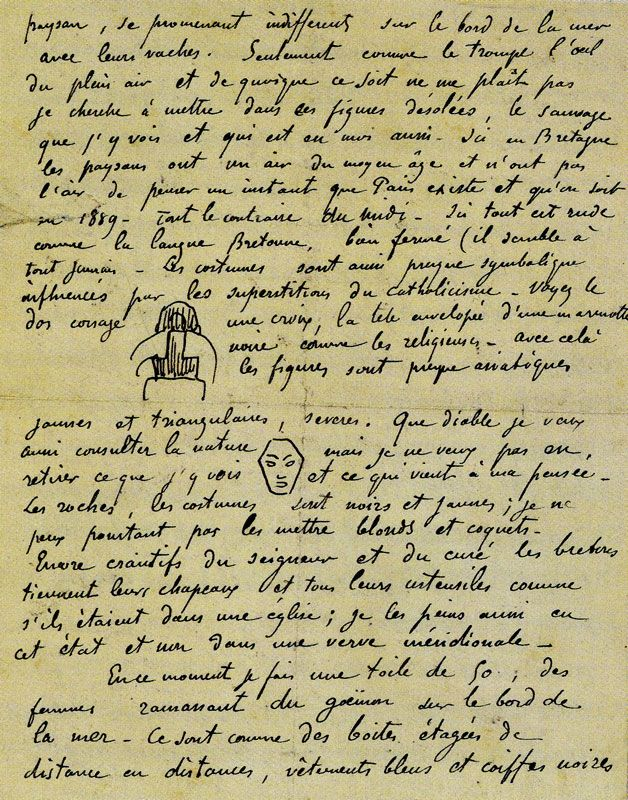 Sketches of Breton Costume and Face, 1889, Van Gogh Museum, Amsterdam, sketches in a letter of Paul Gauguin to Vincent van Gogh c. 8-10 December 1889