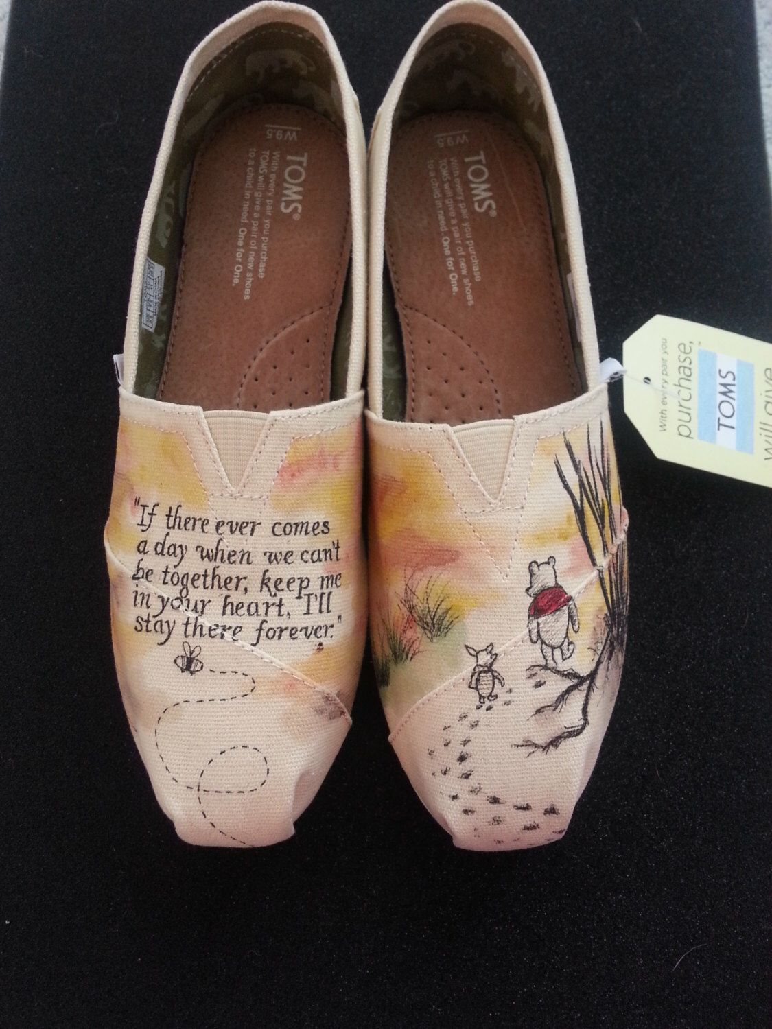 c86a0f51abb0 Vintage Winnie the Pooh and Piglet Custom Hand Painted Wedding Shoes by  Brinkadoodle on Etsy https