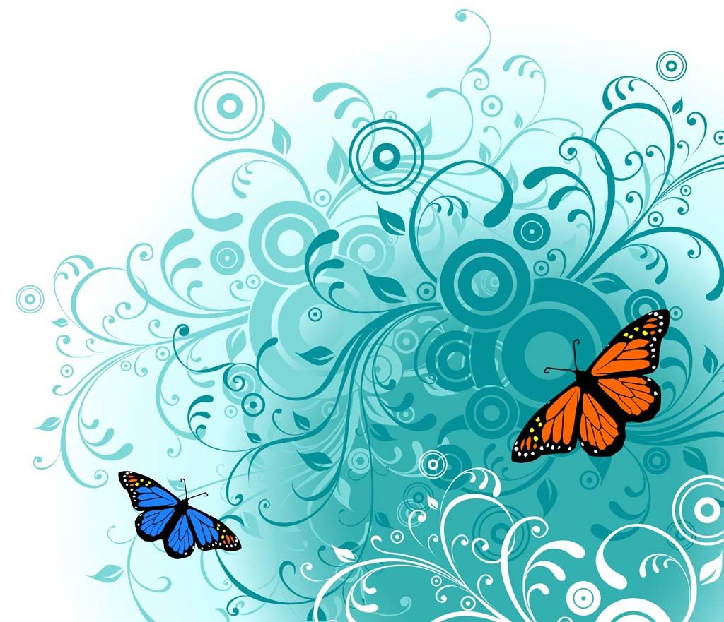 Vector Graphics | Free Butterfly Vector Art | Background - Blue ...