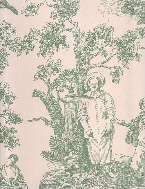Cant Miss Deals on Antiquity Green Linen Toile Wallpaper