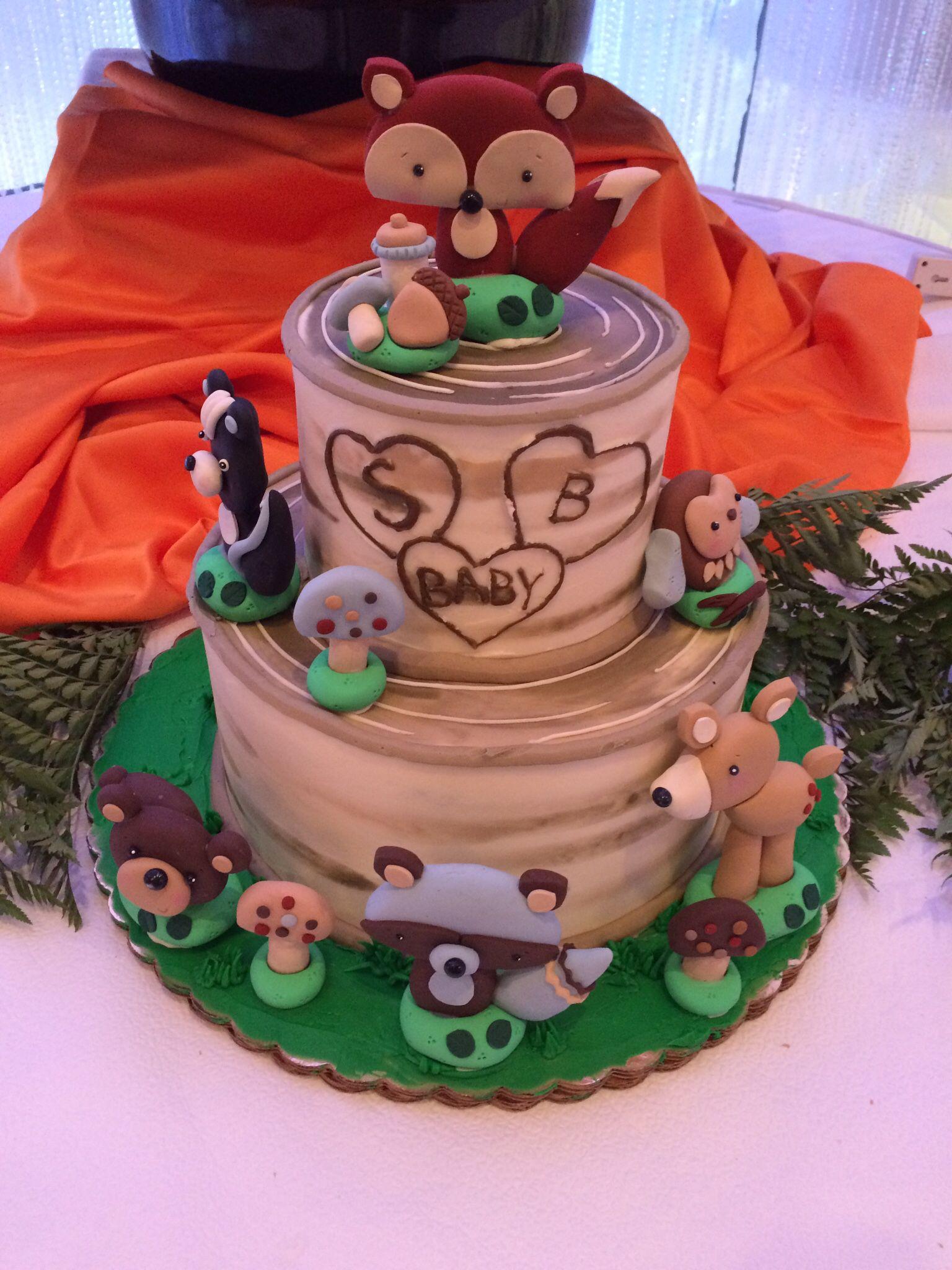 Woodland Baby Shower Cake ~ Woodland forest friends birch fox theme baby shower tier