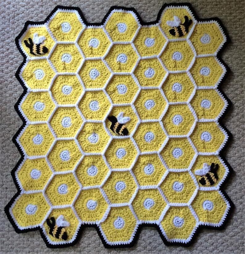 Bumble bee blanket etsy in 2020 crochet baby