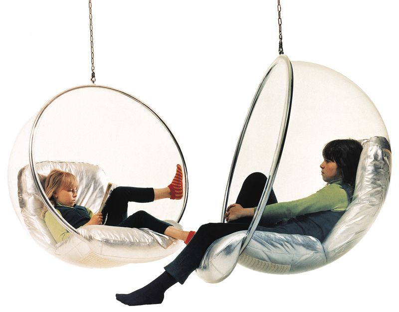 the bubble chair securely hangs from your ceiling using a 6-foot