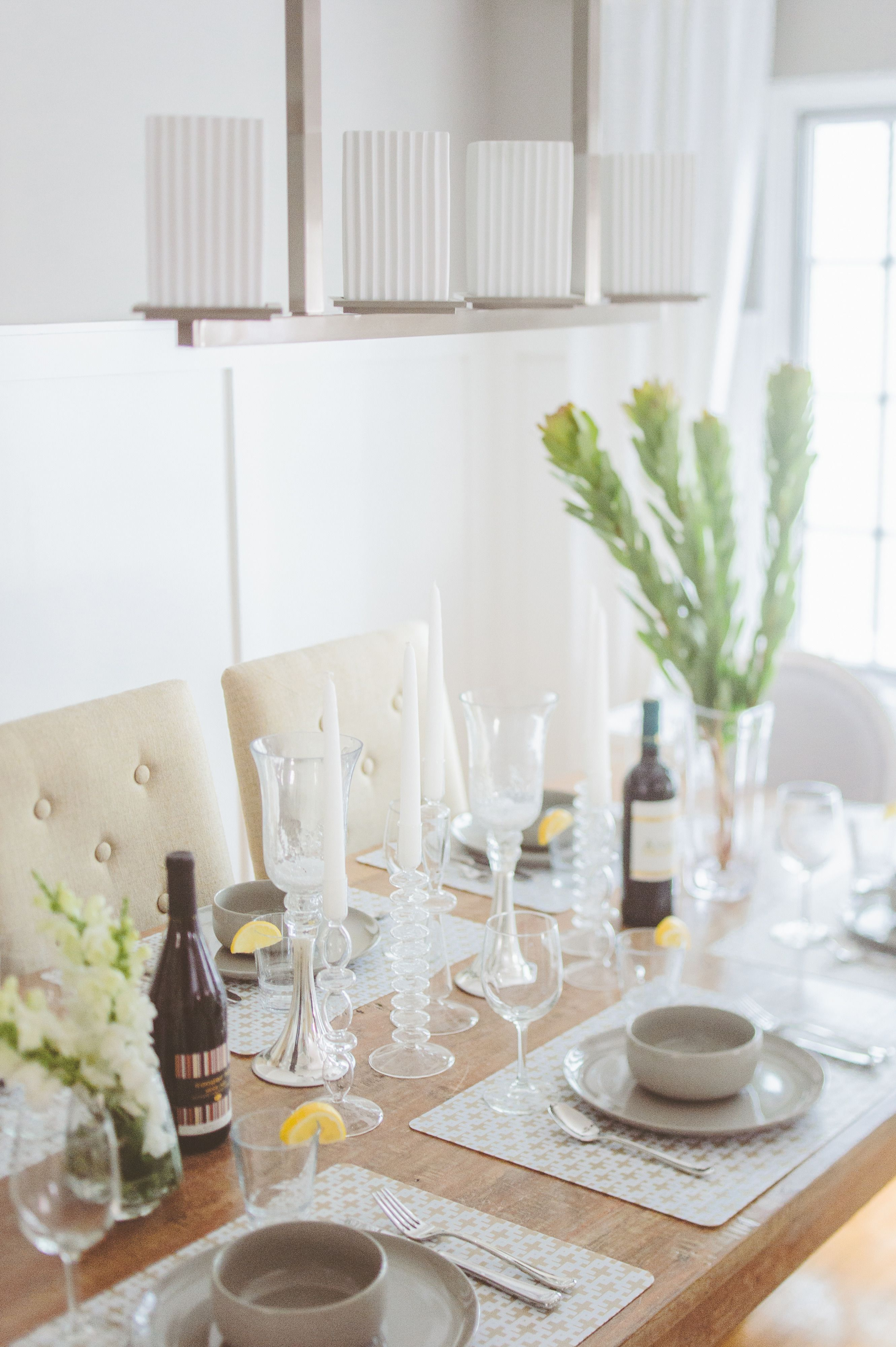 #tablescapes, #dining-room, #chandelier, #neutral  Photography: Paper Antler - paperantler.com  Read More: http://www.stylemepretty.com/2014/01/10/smp-living-spotlight-27/