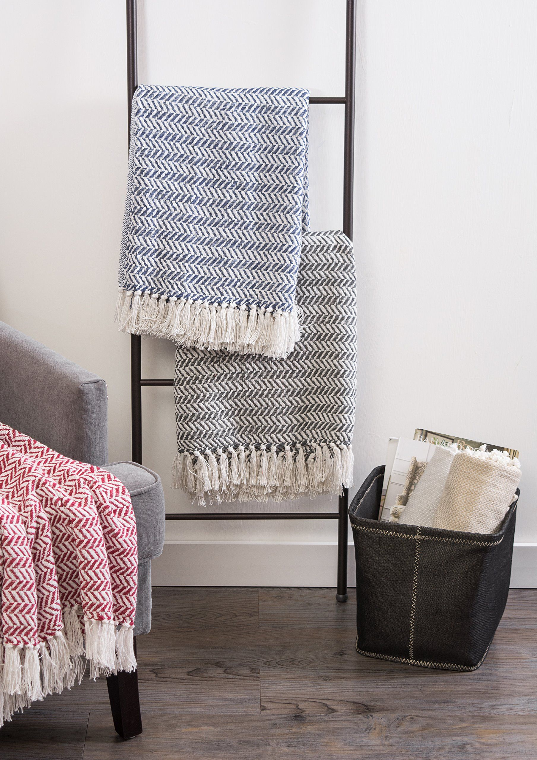 Dii modern farmhouse cotton herringbone blanket throw with fringe for chair couch picnic camping beach and everyday use 50 x 60 herringbone chevron mineral