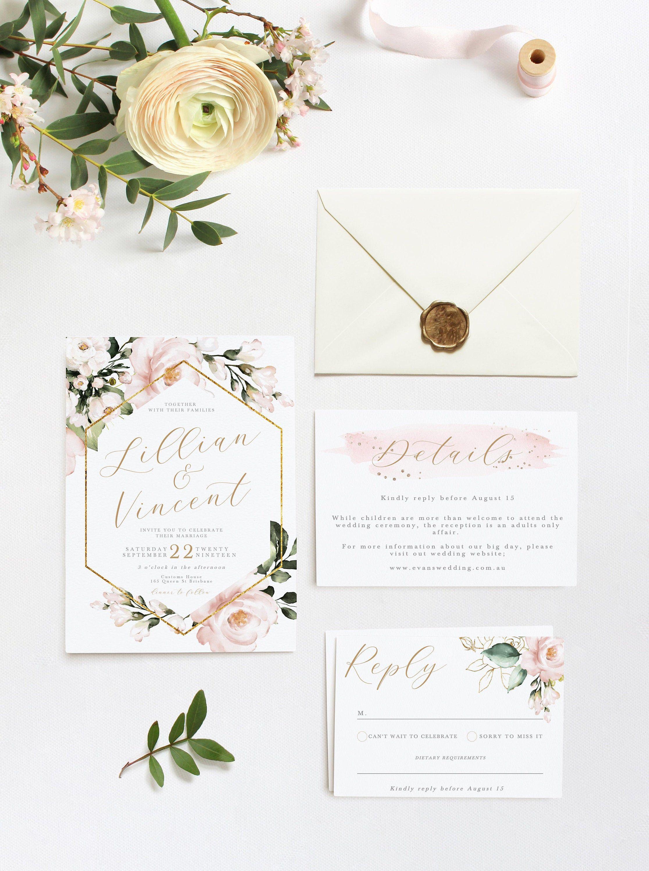 Virtual Wedding Invite Boho Wedding Invitation Template Templett Printable Invitations Digital Download