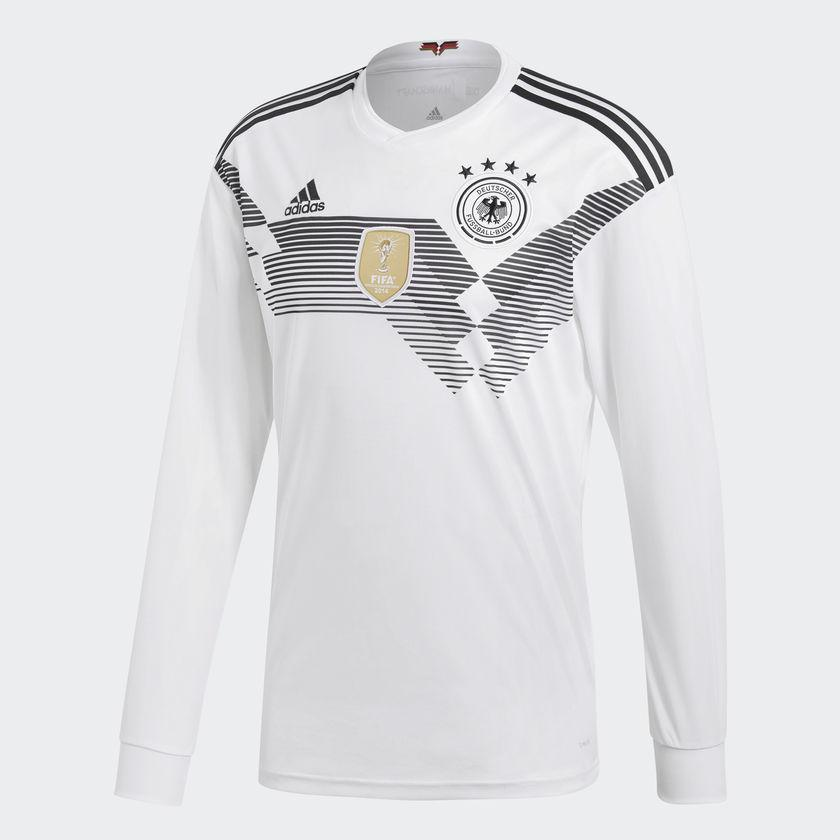 ADIDAS GERMANY LONG SLEEVE HOME JERSEY FIFA WORLD CUP 2018- White Black A  GERMANY LONG SLEEVE HOME JERSEY WITH THE BEATING HEART OF A CHAMPION. 9bec67a4d