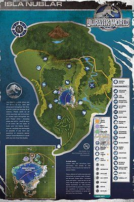 Jurassic World Map Pdf. Jurassic World Island Map Poster Isla Nublar Film Movie Wall Art Large Maxi