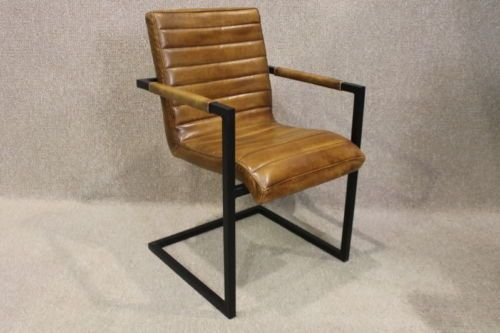 VINTAGE INDUSTRIAL STYLE DINING CHAIR OFFICE CHAIR IN LEATHER RETRO STYLE