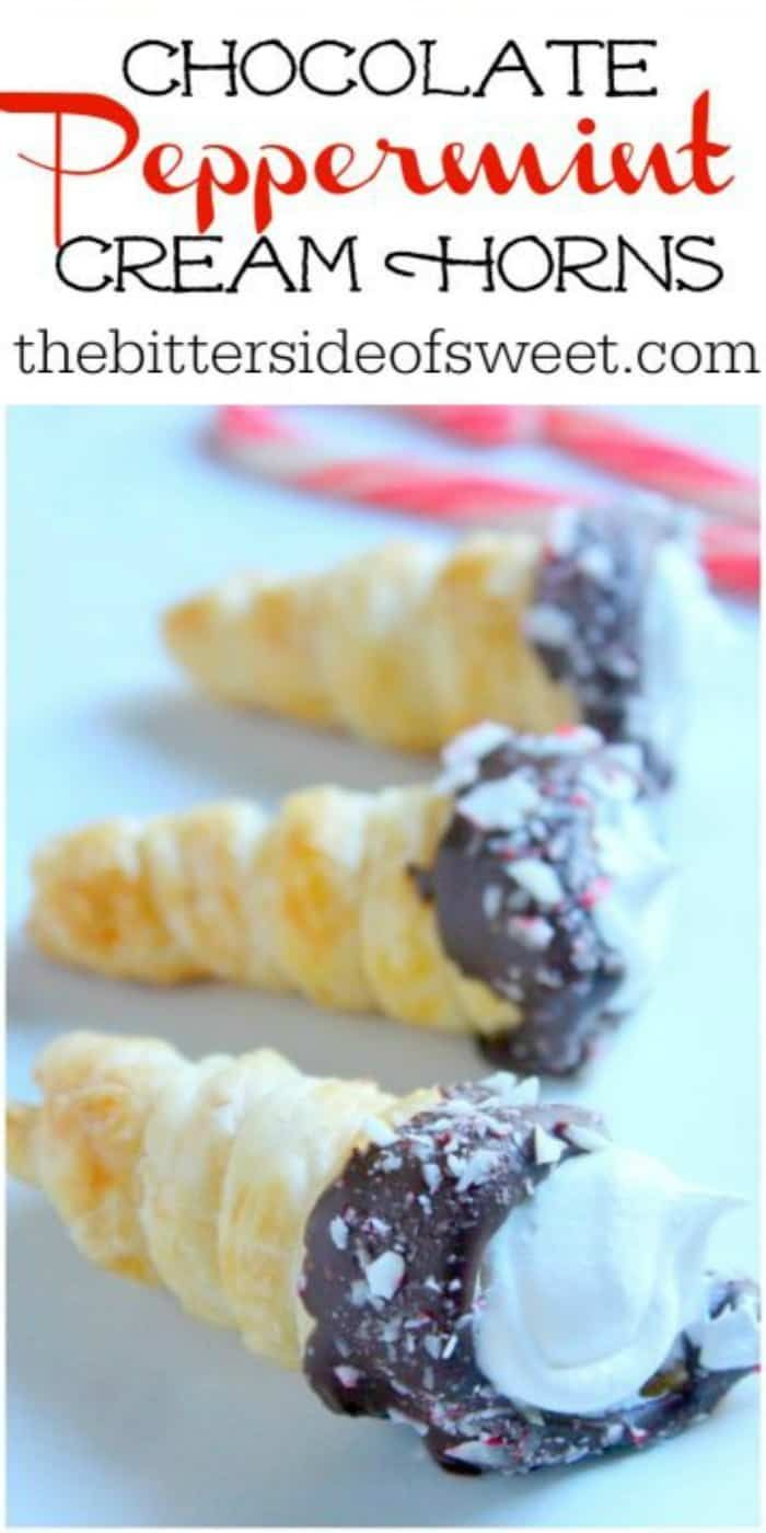 Chocolate Peppermint Cream Horns couldn't be cuter! They're perfectly festive, and so easy to make, too. Made with puff pastry this is one easy dessert!   The Bitter Side of Sweet Chocolate Peppermint Cream Horns couldn't be cuter! They're perfectly festive, and so easy to make, too. Made with puff pastry this is one easy dessert!   The Bitter Side of Sweet