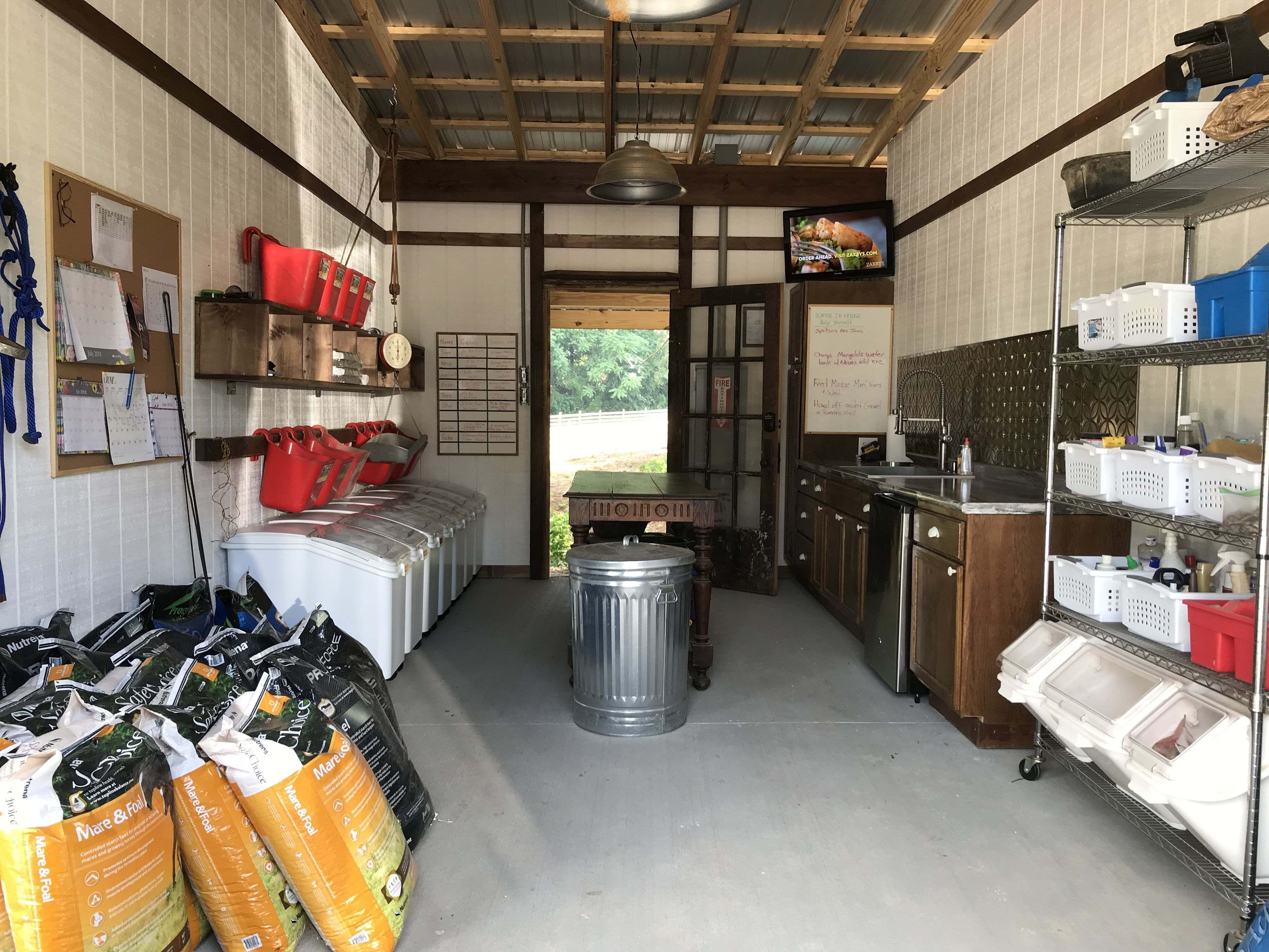 Perfect barn grain/feed room | Horse feed room, Horse ...