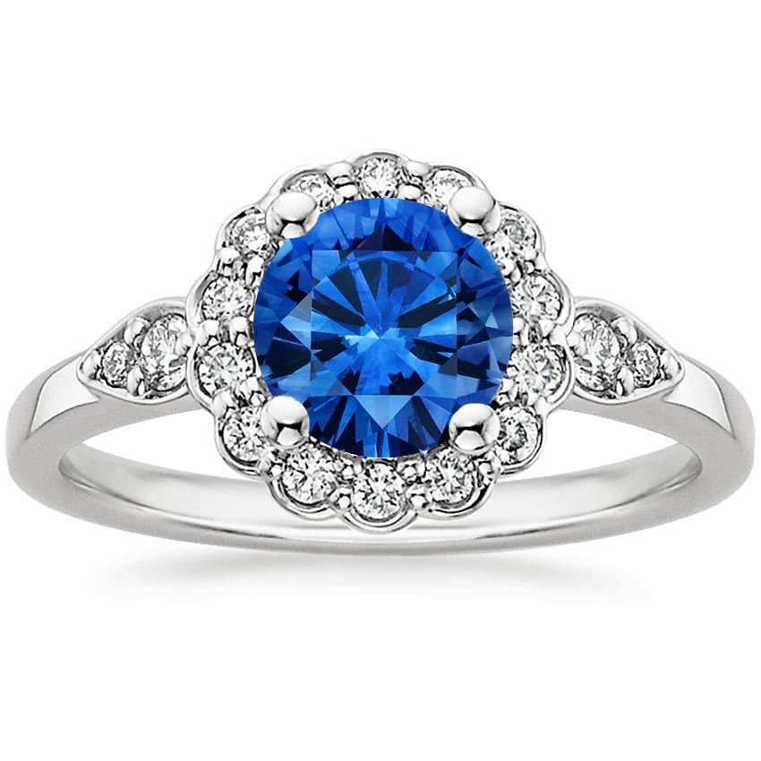 Blue Sapphire Camillia Engagement Ring - 18K White Gold
