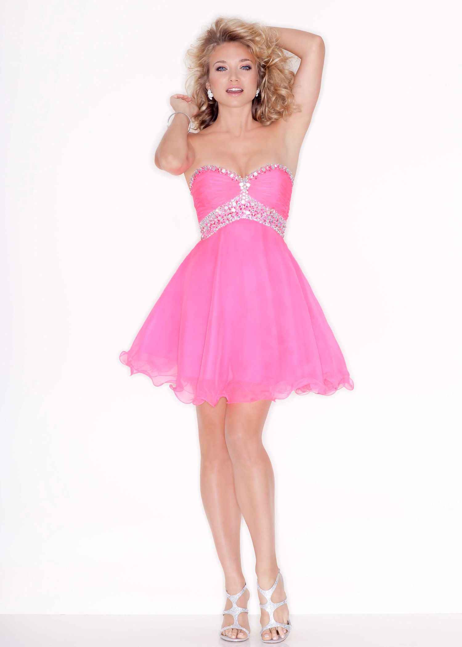 Find Sticks and Stones Mori Lee 9207 neon pink strapless short prom ...