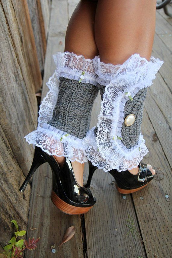 Victorian Style Leg Warmers - Crochet and Lace Spats in Heather Grey ...