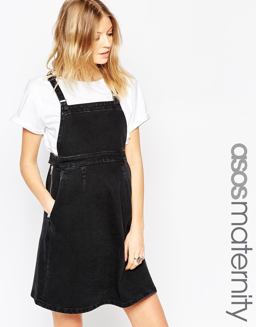Image 1 of asos maternity denim a line pinafore dress in washed image 1 of asos maternity denim a line pinafore dress in washed black ombrellifo Image collections