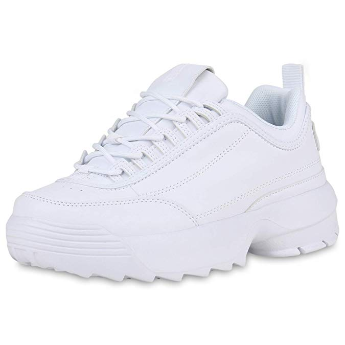 SCARPE VITA Damen Plateau Sneaker mit Keilabsatz Profilsohle
