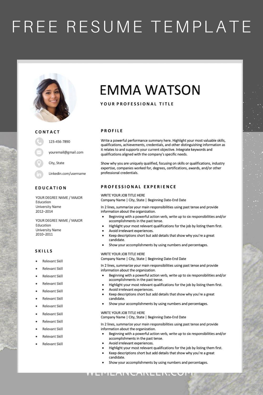 Free Resume Template Resume template free, Resume