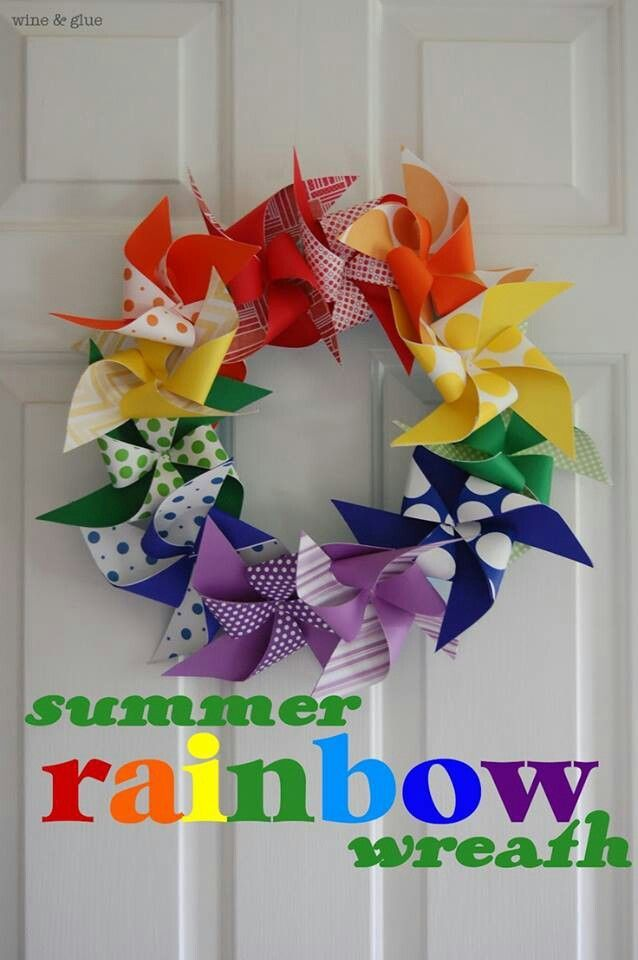 Super easy to make rainbow pinwheel wreath from Wire & Glue. Description from pinterest.com. I searched for this on bing.com/images