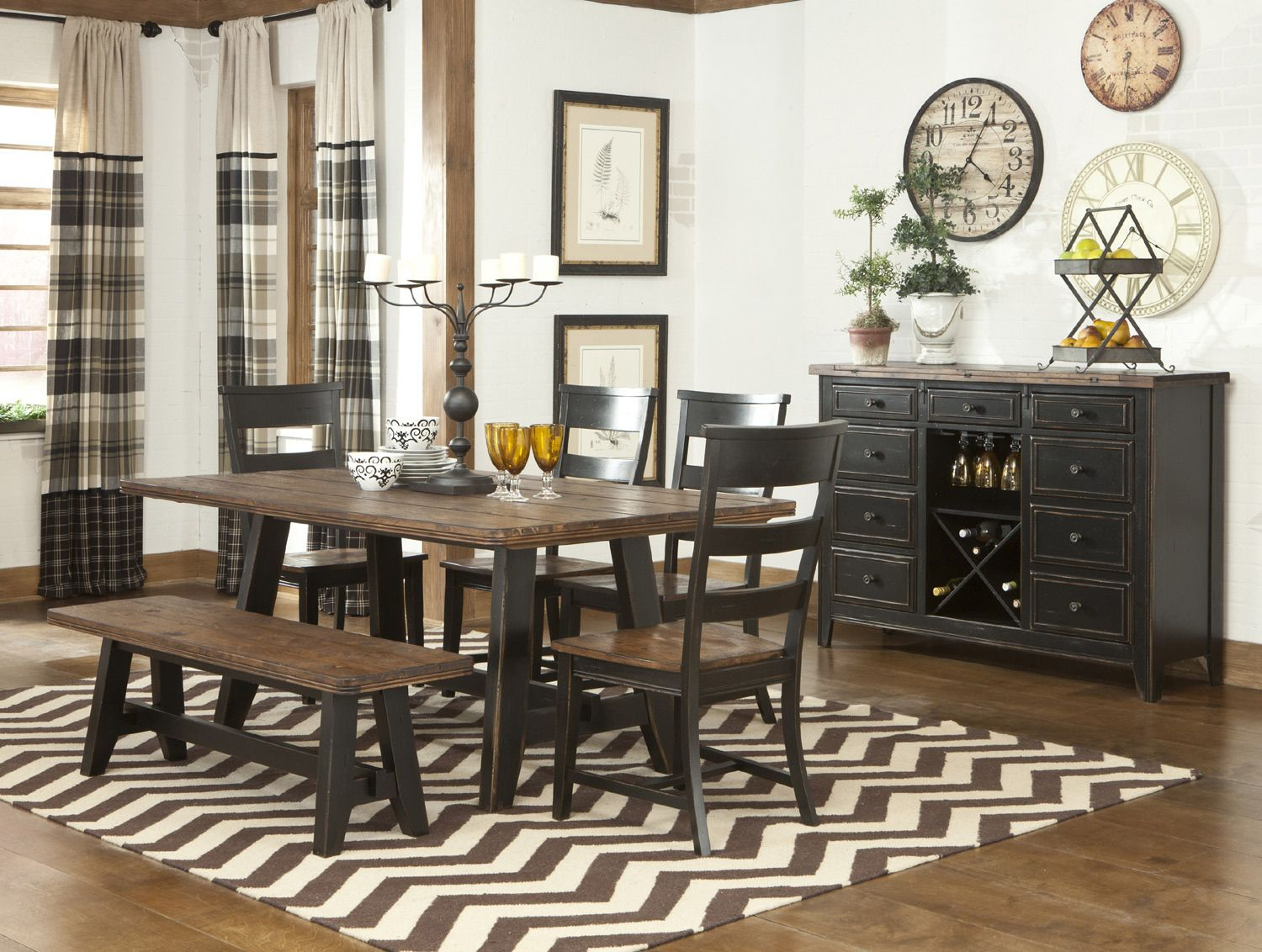 Winchester rectangular trestle table dining room set by intercon