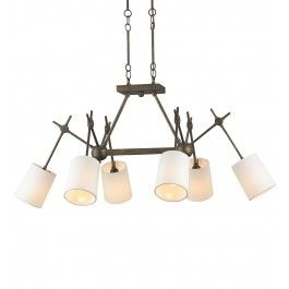 Currey & Company - 9465 - Compass 6 Light Chandelier with Cupertino Finish Lamps.com