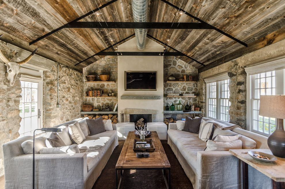 Rustic Luxe Living Room Farmhouse With Firewood Storage Traditional Fireplace Tool Sets Country Decor Rustic Rustic Chic Decor Country Style Living Room